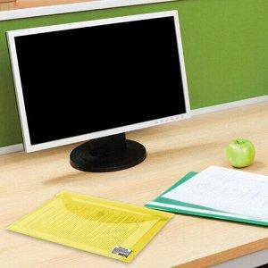Папка-конверт с кнопкой МАЛОГО ФОРМАТА (240х190 мм), А5, прозрачная, желтая, 0,18 мм, BRAUBERG, 224028