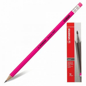 """Карандаш чернографитный STABILO, 1 шт., """"Swano"""", HB, с резинкой, корпус неоновый розовый, заточенный, 4907/040HB"""