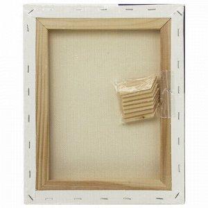 Холст на подрамнике BRAUBERG ART CLASSIC, 24х30см, грунтованный, 100% хлопок, крупное зерно, 190644