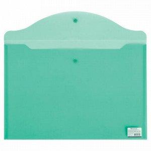 Папка-конверт с кнопкой БОЛЬШОГО ФОРМАТА (305х435 мм), А3, прозрачная, зеленая, 0,18 мм, BRAUBERG, 224033