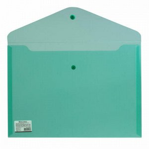 Папка-конверт с кнопкой BRAUBERG, А4, до 100 листов, прозрачная, зеленая, СВЕРХПРОЧНАЯ 0,18 мм, 224810