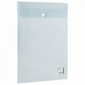 Папка-конверт с кнопкой BRAUBERG, вертикальная, А4, до 100 листов, прозрачная, 0,15 мм, 224978