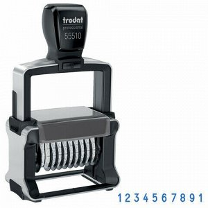 Нумератор металлический 10-разрядный, оттиск 47х5 мм, синий, TRODAT 55510, 75878