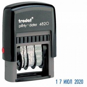 Датер-мини месяц буквами, оттиск 22х4 мм, синий, TRODAT 4820, корпус черный, 73930
