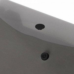 Папка-конверт с кнопкой МАЛОГО ФОРМАТА (250х135 мм), тонированная черная, 0,18 мм, BRAUBERG, 227315
