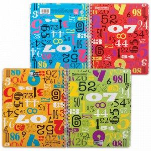 Тетрадь А5, 96 л., BRAUBERG, гребень, клетка, 4 картонные обложки, ЦИФРЫ, 401852