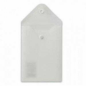Папка-конверт с кнопкой МАЛОГО ФОРМАТА (105х148 мм), А6, матовая прозрачная, 0,18 мм, BRAUBERG, 227321