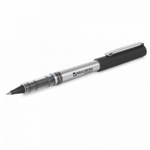 """Ручка-роллер BRAUBERG """"Flagman"""", ЧЕРНАЯ, корпус серебристый, хромированные детали, узел 0,5 мм, линия письма 0,3 мм, 141555"""