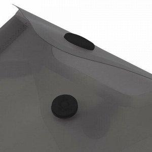 Папка-конверт с кнопкой МАЛОГО ФОРМАТА (105х148 мм), А6, тонированная черная, 0,18 мм, BRAUBERG, 227322
