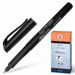 Ручка-роллер KOH-I-NOOR, ЧЕРНАЯ, трехгранная, корпус черный, узел 0,5 мм, линия письма 0,3 мм, 7780573801KS