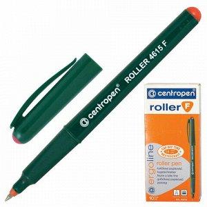 Ручка-роллер CENTROPEN, КРАСНАЯ, трехгранная, корпус зеленый, узел 0,5 мм, линия письма 0,3 мм, 4615, 3 4615 0104