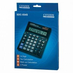 Калькулятор настольный CITIZEN SDC-554S (199x153 мм), 14 разрядов, двойное питание