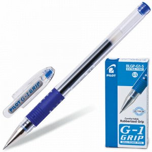 """Ручка гелевая с грипом PILOT """"G-1 Grip"""", СИНЯЯ, корпус прозрачный, узел 0,5 мм, линия письма 0,3 мм, BLGP-G1-5"""