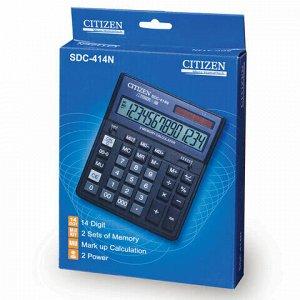 Калькулятор настольный CITIZEN SDC-414N (204х158 мм), 14 разрядов, двойное питание