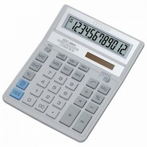 Калькулятор настольный CITIZEN SDC-888ХWH (203х158 мм), 12 разрядов, двойное питание, СЕРЫЙ, SDC-888 X
