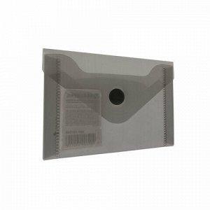 Папка-конверт с кнопкой МАЛОГО ФОРМАТА (74х105 мм), А7 (для дисконтных, банковских карт, визиток), тонир.черная, 0,18 мм, BRAUBERG, 227326