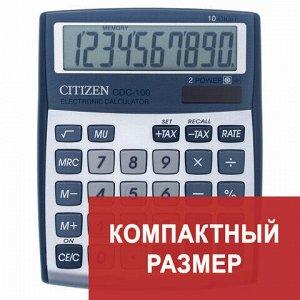 Калькулятор настольный CITIZEN CDC-100WB, МАЛЫЙ (135x109 мм), 10 разрядов, двойное питание