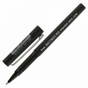 """Ручка-роллер PENTEL (Япония) """"Document Pen"""", ЧЕРНАЯ, корпус черный, узел 0,5 мм, линия письма 0,25 мм, MR205-A"""