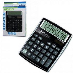Калькулятор настольный CITIZEN CDC-80BKWB, МАЛЫЙ (135x109 мм), 8 разрядов, двойное питание, ЧЕРНЫЙ