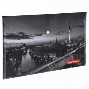"""Папка-конверт с кнопкой BRAUBERG """"NIGHT CITY"""", А4, 160 мкм, цветная печать, 228033"""