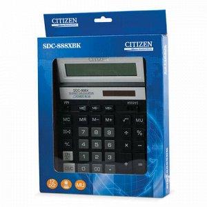 Калькулятор настольный CITIZEN SDC-888ХBK (203х158 мм), 12 разрядов, двойное питание, ЧЕРНЫЙ