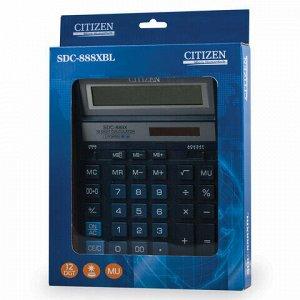 Калькулятор настольный CITIZEN SDC-888XBL (203х158 мм), 12 разрядов, двойное питание, СИНИЙ