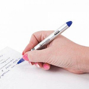 """Ручка-роллер BRAUBERG """"Control"""", СИНЯЯ, корпус серебристый, узел 0,5 мм, линия письма 0,3 мм, 141554"""