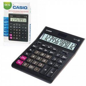 Калькулятор настольный CASIO GR-12-W (209х155 мм), 12 разрядов, двойное питание, черный, европодвес, GR-12-W-EP