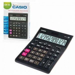 Калькулятор настольный CASIO GR-14-W (209х155 мм), 14 разрядов, двойное питание, черный, европодвес, GR-14-W-EP