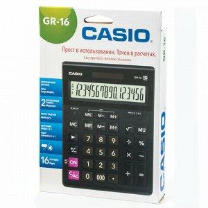 Калькулятор настольный CASIO GR-16-W (209х155 мм), 16 разрядов, двойное питание, черный, европодвес, GR-16-W-EP