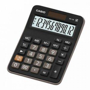 Калькулятор настольный CASIO MX-12B-W, КОМПАКТНЫЙ (145х103 мм), 12 разрядов, двойное питание, черный, MX-12B-W-EC