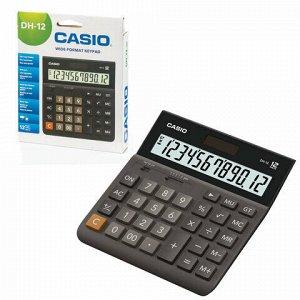 Калькулятор настольный CASIO DH-12-BK-S, КОМПАКТНЫЙ (159х151 мм), 12 разрядов, двойное питание, черный/серый, DH-12-BK-S-EP