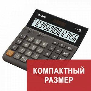 Калькулятор настольный CASIO DH-16-BK-S, КОМПАКТНЫЙ (159х151 мм), 16 разрядов, двойное питание, черный/серый, DH-16-BK-S-EP