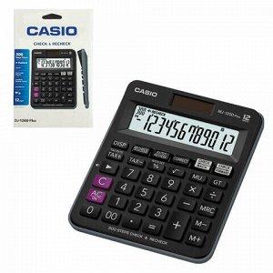 Калькулятор настольный CASIO MJ-120DPLUS-W, КОМПАКТНЫЙ (148х126 мм), 12 разрядов, двойное питание, черный, MJ-120DPLUS-W-E