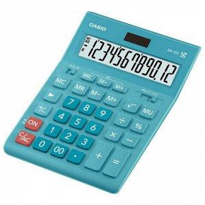 Калькулятор настольный CASIO GR-12С-LB (210х155 мм), 12 разрядов, двойное питание, ГОЛУБОЙ, GR-12C-LB-W-EP