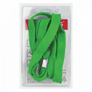 Бейдж вертикальный (90х60 мм), на зеленой ленте 45 см, BRAUBERG, 235700