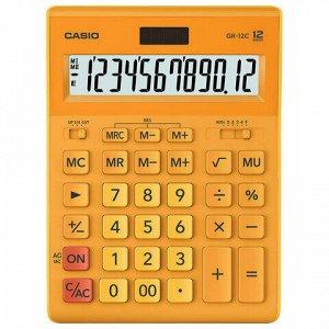 Калькулятор настольный CASIO GR-12С-RG (210х155 мм), 12 разрядов, двойное питание, ОРАНЖЕВЫЙ, GR-12C-RG-W-EP