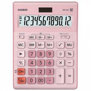 Калькулятор настольный CASIO GR-12С-PK (210х155 мм), 12 разрядов, двойное питание, РОЗОВЫЙ, GR-12C-PK-W-EP