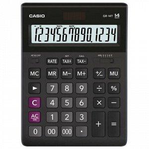Калькулятор настольный CASIO GR-14T-W (210х155 мм), 14 разрядов, двойное питание, черный, GR-14T-W-EP