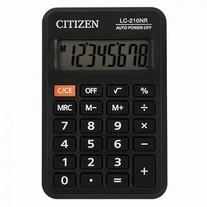 Калькулятор карманный CITIZEN LC-210NR (98х62 мм), 8 разрядов, питание от батарейки