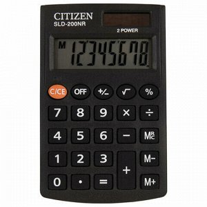 Калькулятор карманный CITIZEN SLD200NR (98х60 мм), 8 разрядов, двойное питание, SLD-200NR