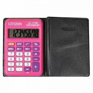 Калькулятор карманный CITIZEN LC-110NRPK, МАЛЫЙ (89х59 мм), 8 разрядов, двойное питание, РОЗОВЫЙ