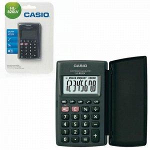 Калькулятор карманный CASIO HL-820LV-BK-S (104х63х7,4 мм) 8 разрядов, питание от батареи, черный, блистер, HL-820LV-BK-S-G