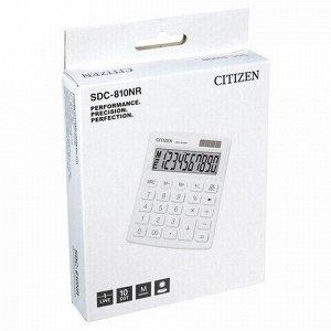 Калькулятор настольный CITIZEN SDC-810NRWHE, КОМПАКТНЫЙ (124х102 мм), 10 разрядов, двойное питание, БЕЛЫЙ