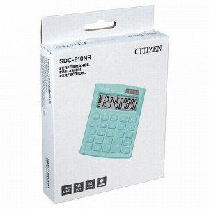 Калькулятор настольный CITIZEN SDC-810NRGNE, КОМПАКТНЫЙ (124х102мм), 10 разрядов, двойное питание, БИРЮЗОВЫЙ