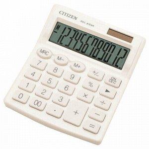 Калькулятор настольный CITIZEN SDC-812NRWHE, КОМПАКТНЫЙ (124х102 мм), 12 разрядов, двойное питание, БЕЛЫЙ