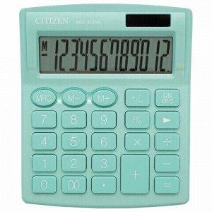 Калькулятор настольный CITIZEN SDC-812NRGNE, КОМПАКТНЫЙ (124х102 мм), 12 разрядов, двойное питание, БИРЮЗОВЫЙ