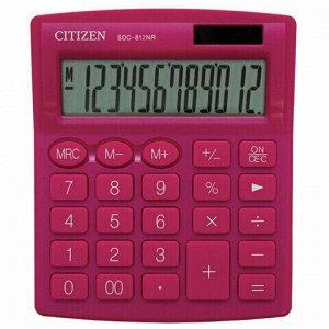 Калькулятор настольный CITIZEN SDC-812NRPKE, КОМПАКТНЫЙ (124х102 мм), 12 разрядов, двойное питание, РОЗОВЫЙ