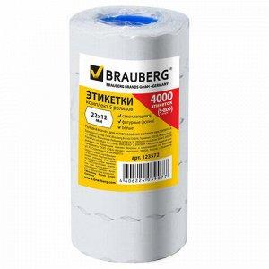 Этикет-лента 22х12 мм, волна, белая, комплект 5 рулонов по 800 шт., BRAUBERG, 123572