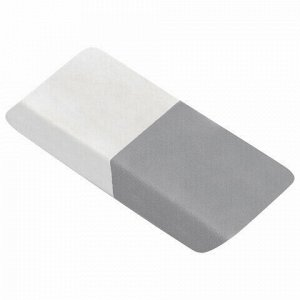 Ластик BRAUBERG, 41х14х8 мм, серо-белый, прямоугольный, скошенные края, 222461
